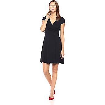 Merk - Lark & Ro Women's Cap Sleeve Faux Wrap Fit and Flare Dress, Navy, Small