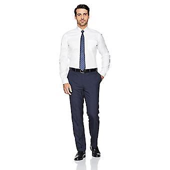 BUTTONED أسفل الرجال & apos;ق سليم صالح زر ذوي الياقات البيضاء الصلبة غير الحديد اللباس قميص (جيب...