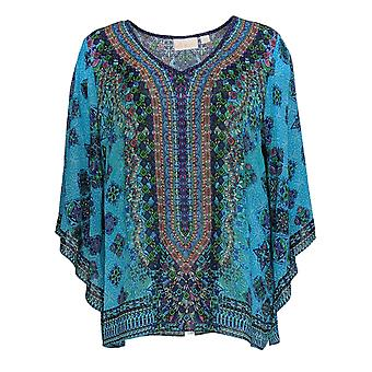 Belle by Kim Gravel Women's Top Printed Woven Blouse Blue A373653