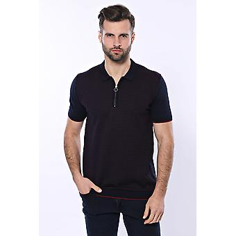 Donkerblauw geplaid rits gebreide polo t-shirt | wessi wessi