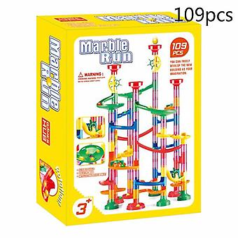 105/109pcs Set Diy Construction Marble Race Run Track Building Blocks Toys Christmas Gift For Kids