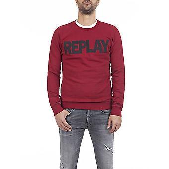 Replay Round Neck Cotton Red Sweatshirt