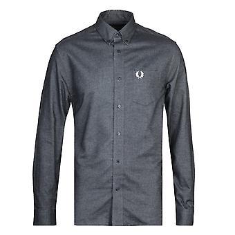 Fred Perry geborsteld Zwart Oxford Shirt