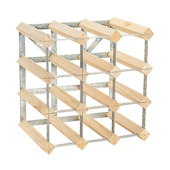 12 Bottle Wine Rack - Fully Assembled - Light Wood