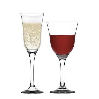 LAV Vals Copas de Vino y Flautas de Champán - Cristalería Vintage - 295ml, 190ml - Set de 12