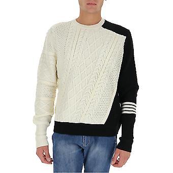 Neil Barrett Bma1125p634c2932 Men's Suéter de Lã Branco/Preto