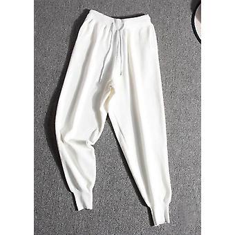 Dzianiny z wysokim stanem sznurek Loungewear Joggers Biały
