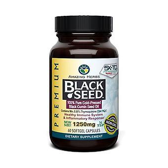 アメージングハーブブラックシードブラッククミン種子油、1250mg、60キャップ