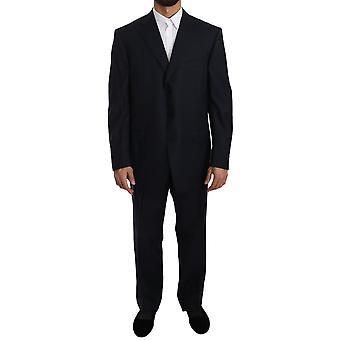Ermenegildo Zegna Blue Two Piece 3 Button Wool Suit