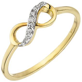 حلقة سيدات إنفينيتي 375 ذهبية ذهبية صفراء 10 زيركونيا خاتم ذهبي