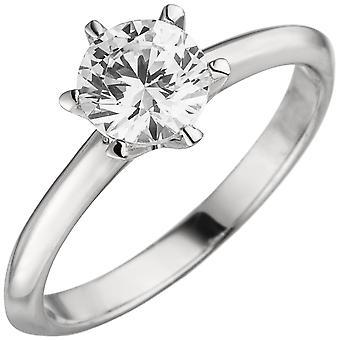 Women's Ring 585 Gold White Gold 1 Diamond Brilliant 1.0ct. Diamond ring solitaire