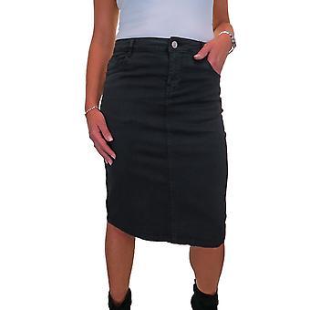 Women's Stretch Jeans Szoknya Női Kényelmes alsó térd szín ceruza szoknya 10-20