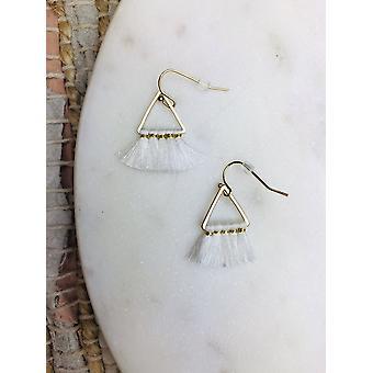 Μίνι τρίγωνο βαμβάκι φούντες σκουλαρίκι