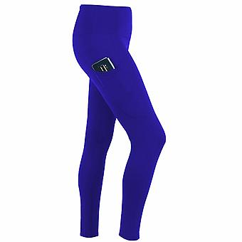 Flo Women's Tummy Control Sports Yoga Pants with Inner Pockets Blue,Large