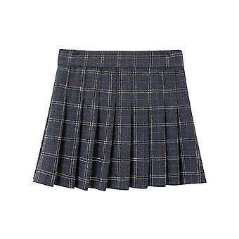 Womens High Waist Pleated Zip Tennis Skater Wool Mini Skirt
