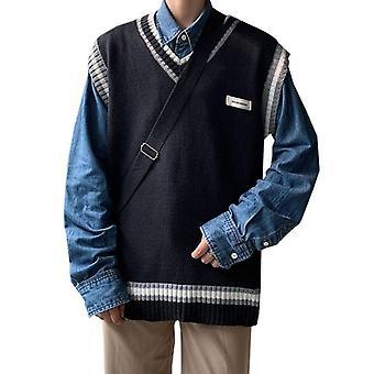 Sweater Vest, Men Patchwork, V-neck Sleeveless Sweaters, Preppy Style,