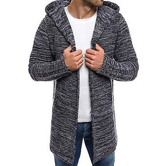 Men's Knit Wool Coat Jacket Hooded Cardigan Solid Color Long Sleeve