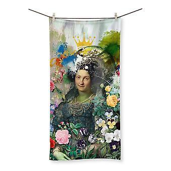 Vandalized monarchy beach towel