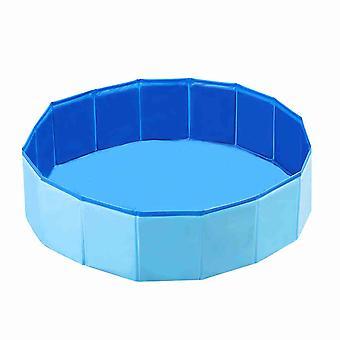 Foldable Dog Swimming Pool Pet Bath Collapsible Bathing Pool 30*10cm Blue