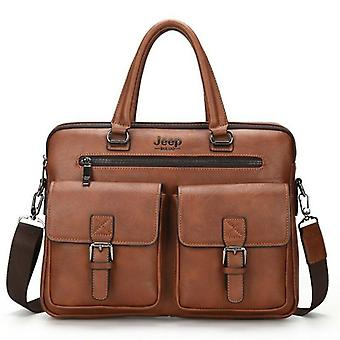 Leather Messenger Handbag With Two-pocket, Soft Handle, Laptop Bags