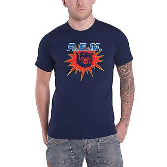 REM R.E.M. T Shirt Bear Burst Band Logo new Official Mens Navy Blue