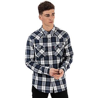 Mænd's Levis Barstow Western Shirt i blå