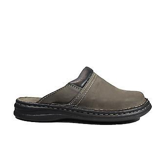 Josef Seibel Max Grey Leather Mens Slip On Mule Shoes