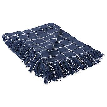 Dii French Blue Checked Plaid Throw Blanket