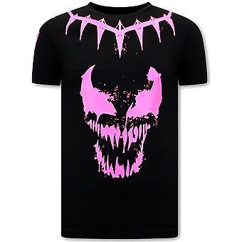 Printti T-paita - Myrkky kasvot Neon - Musta