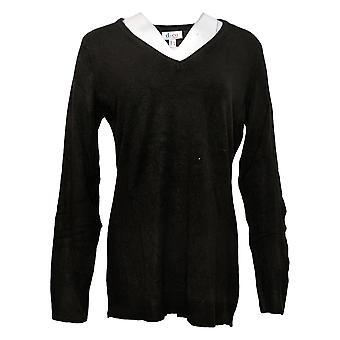 Denim & Co. Women's Sweater Long-Sleeve V-Neck Black A390269