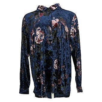 Belle by Kim Gravel Women's Top Velvet Big Shirt w/ Pocket Blue A388508