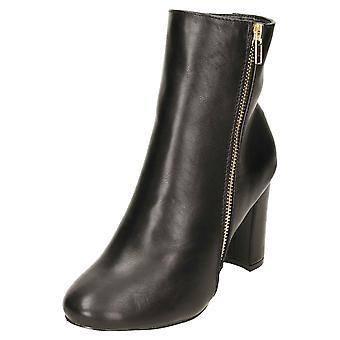 Koi Footwear Zip Ankle Boots Block High Heel Black