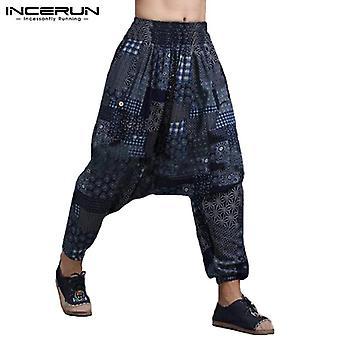 Men Print Vintage Harem Pants Drop Crotch Cotton Hip-hop Women Casual