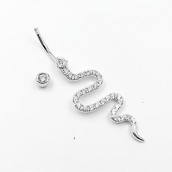 925 Sterling Strieborný pupok Piercing Had tvar Kubický Zircon brucho tlačidlo krúžok