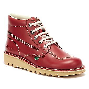 Kickers Kick Hi bottes de cuir rouge de Mens