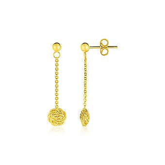 14k  Dangle Earrings with Textured Knots