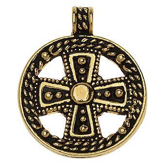 Metallanhänger, Rundes Opulenzkreuz 29,5mm, 1 Stück, antik vergoldet, Von TierraCast