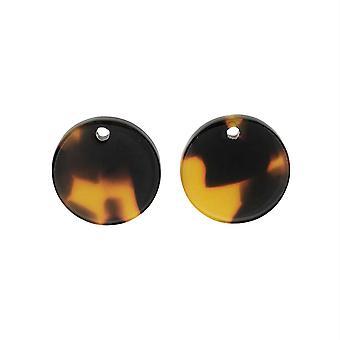 Zola Elements Acétate Pendentif, Pièce 14mm, 2 Pièces, Écaille de tortue brune