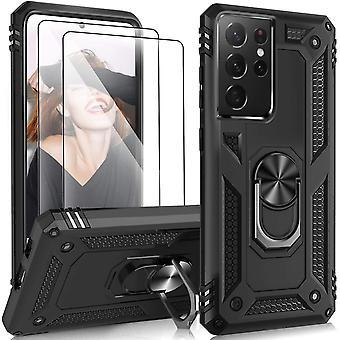 FengChun Hülle Kompatibel mit Samsung Galaxy S21 Ultra Hülle mit 2 Panzerglas Schutzfolie,