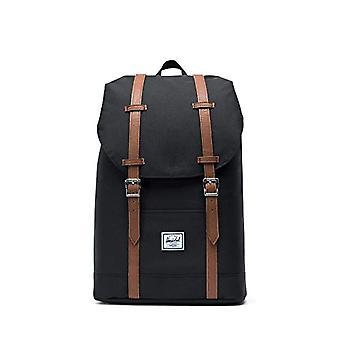 Herschel Retreat - Medium backpack, 16.25 x 11 x 4.75 cm, Black/Tan Synthetic Leather (Black) - 10329-00001-OS