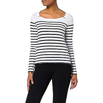 Armor Lux Marini king Encolure Carree T-Shirt, Blanc/Marine Deep, 44 Woman