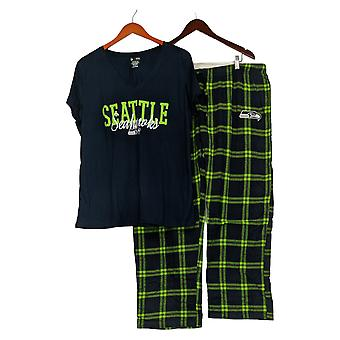 NFL Dames Pyjama Set Seattle Flanel Broek & T-Shirt Blauw A370730