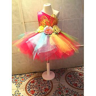 Colorful Flowers Standart Salsa Costume Dance Dress