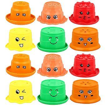 12pcsクリエイティブキッズスタック可能なカップおもちゃ面白い入浴おもちゃ教育遊び
