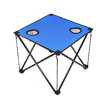 Outdoor Folding Table Portable Camping Table With Cup Holders Compact Lightweight Picnic Desk (blue)