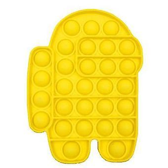 2Pcs צהוב לדחוף פופ בועת פופ צעצוע פידג'ט חושי, משכך מתח צעצוע סיליקון לילדים מבוגרים az11883