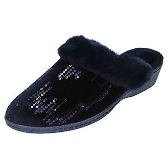 JWF Mule Slippers Wedge Heel Sequin Clogs Navy