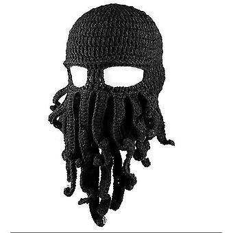 Καπέλο χταπόδι αστείο μασκοφόρο χειροποίητο κροσέ woolen ζεστό καπέλο (μαύρο)
