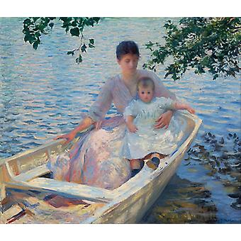 Mother And Child In A Boat,edmund Charles Tarbell Art Reproduction.impressionism Modern Hd Art Print Poster,canvas Prints Wall Art For Home Decor Pict