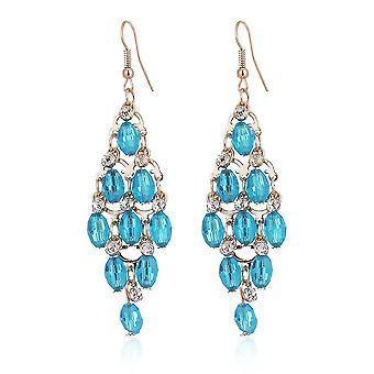 Oorbellen meerlagig kristal slank lange blauwe legering zirkon voor bal